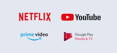 Netflix, YouTube, prime video and Google Play logos