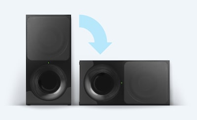 Wireless subwoofer on its side and upright