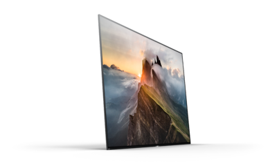 Sony OLED TV with mountain landscape onscreen