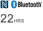 Bluetooth logo - Wireless listening time of 22 hours
