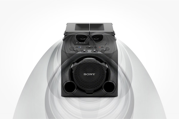 GTK-PG10 with top panels closed for front-facing sound
