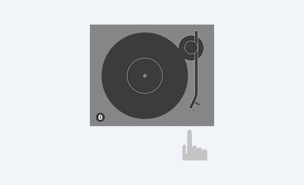Illustration showing how you can start a record simply by pressing the one-step auto play button