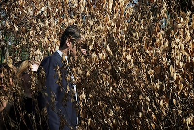 menelaos myrillas sony alpha 9 man with his face obscured behind a bush of burnt leaves