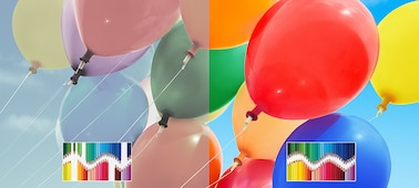 TRILUMINOS colours shown with colourful ballons