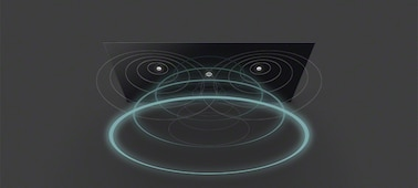 Image of soundwaves from TV with Acoustic Surface Audio+