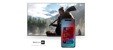 Apple AirPlay being used to connect a phone to a television