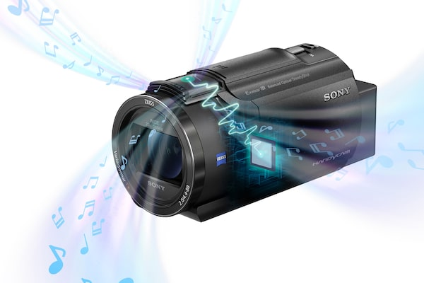 Image of the Sony Handycam with animation of sound being broadcast from it